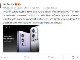 Hình ảnh đầu tiên của OnePlus 9 series biến thể Silver & Gradient Purple